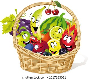 basket full of fruit character cartoon - funny vector illustration character