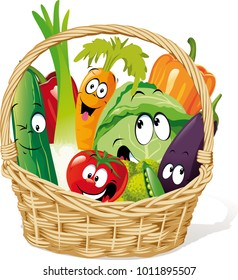 Basket full of vegetable character cartoon - funny vector design