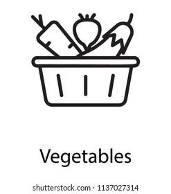 A basket having fresh organic vegetables for healthy diet