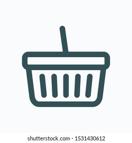 Basket isolated icon, online store basket linear vector icon