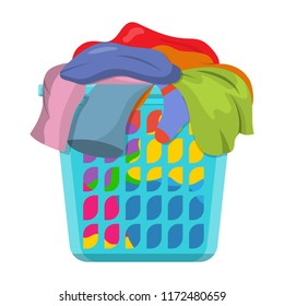 Basket with linens, Laundry basket with dirty clothes. Vector illustration in flat style