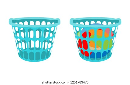 Basket with linens. Laundry basket with dirty clothes and empty laundry basket. Vector illustration