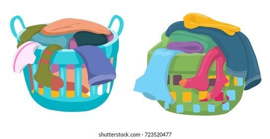 Basket with linens vector, Laundry basket