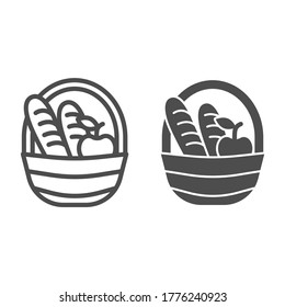 Basket with loaves and apple line and solid icon, food concept, Picnic basket full of delicious fruits and bread sign on white background, basket with products icon in outline style. Vector graphics