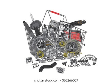 Basket with many auto parts for the passenger car. Auto parts for shop, aftermarket, OEM. Auto parts like in shop. New auto parts from OEM. Many auto parts for car. New auto parts in basket.