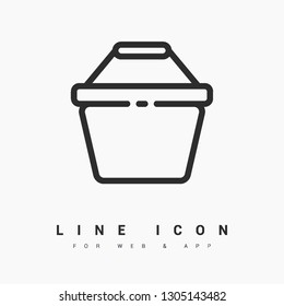 Basket minimal icon. Corf line vector icon for websites and mobile minimalistic flat design.