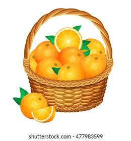 Basket with oranges fruits. Vector illustration