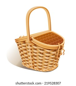 Basket for picnic. Eps10 vector illustration. Isolated on white background