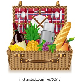 basket for a picnic with tableware and foods vector illustration