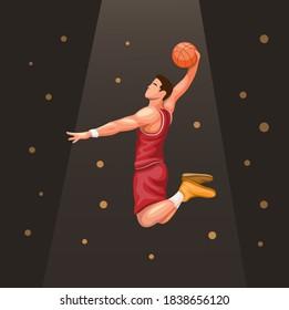 Basket player slamdunk under spotlight. sport athlete symbol concept in cartoon illustration vector