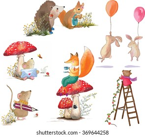 basket with rabbit, rabbit red apple in hand, rabbit balloon flying, the postman mouse, drinking tea and sitting fox, mouse painter, who decorate the ladder pig