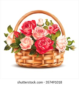 Basket with roses isolated on white. Vector illustration.