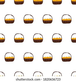 Basket seamless pattern with pumpkin. Background for Halloween. Suitable for backgrounds, cards and wrapping paper. Vector.