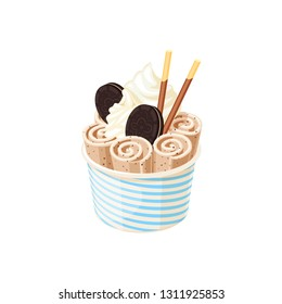 Basket of stir fried chocolate ice cream rolls under whipped cream decorated with round chocolate cookies. Vector illustration cartoon flat icon isolated on white.