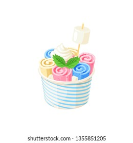 Basket of stir fried colorful ice cream rolls under whipped cream decorated with mint leaves and marshmallows. Vector illustration cartoon flat icon isolated on white.