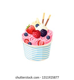 Basket of stir fried pink ice cream rolls under whipped cream decorated with berries. Vector illustration cartoon flat icon isolated on white.