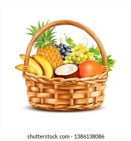 Basket with tropical fruits isolated on white. Vector illustration.