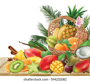 Basket with tropical fruits and spices on a wooden table. Vector illustration