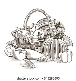 Vegetable Basket Drawing Images Stock Photos Vectors Shutterstock