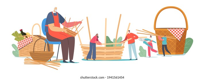 Basket Weaving Concept. Senior Male Character Make Wicker Pannier of Different Natural Materials Willow, Bamboo, Dry Grass, Tree Branches. Handmade Hobby, Business. Cartoon People Vector Illustration