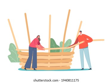 Basket Weaving Concept. Tiny Male and Female Character Make Huge Wicker Pannier of Natural Material Willow, Bamboo, Straw or Tree Branches. Handmade Hobby, Business. Cartoon People Vector Illustration