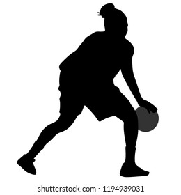 Basket, Women's Basketball, Silhouette on White Background
