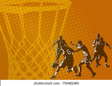 basketball abstract background - vector illustration