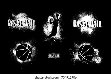 Basketball. Abstract ball, basketball player, grunge, stamp, graffiti. Streetball. Design elements for the design of banners, posters, flyers. Ink, texture.