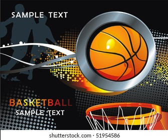 Basketball Advertising poster. Abstract sport background. Vector illustration with Ball for design.