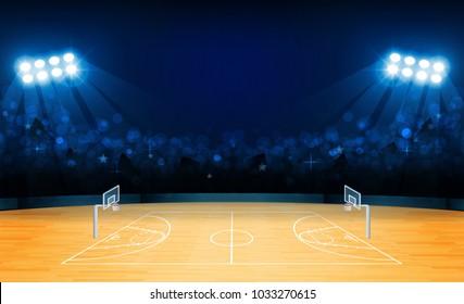 Basketball arena field with bright stadium lights design. Vector illumination