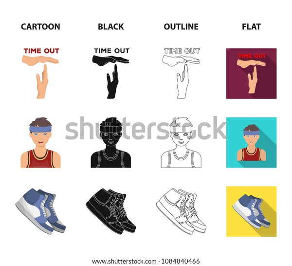 Basketball and attributes cartoon,black,outline,flat icons in set collection for design.Basketball player and equipment vector symbol stock web illustration.