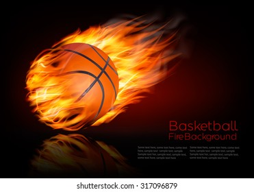 Basketball background with a flaming ball. Vector.