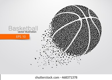 Basketball. Background and text on a separate layer, color can be changed in one click