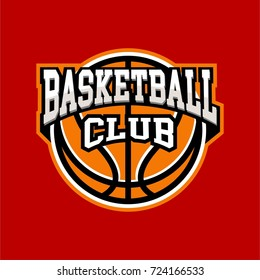 basketball badge logo yellow color with red background