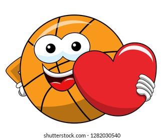 basketball ball cartoon funny character love heart isolated on white