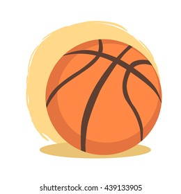 Basketball Ball Cartoon. Vector illustration of basketball ball sport icon isolated on orange white background.
