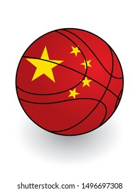 basketball ball, china flag colors, vector illustration