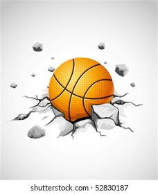 basketball ball in cracked stone vector illustration
