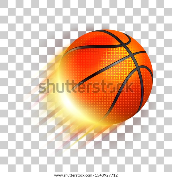 Basketball ball in fire flying