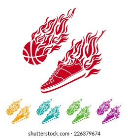 Basketball ball in flame sneakers vector art icon color