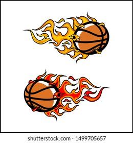 Basketball ball flame vector set of 2