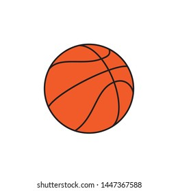 basketball ball flat line icon on white background. simple vector logo art for tournament illustration and sport apps. eps 10
