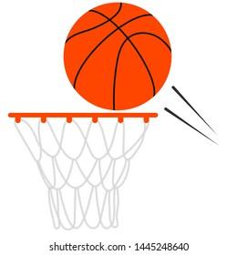 Basketball ball flies to the basketball hoop
