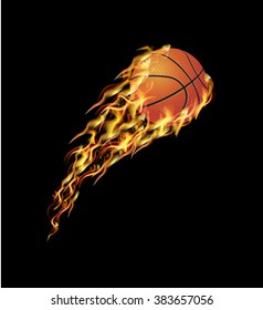 Basketball ball flying in the fire with the speed
