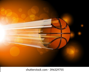 Basketball ball flying on the shiny background