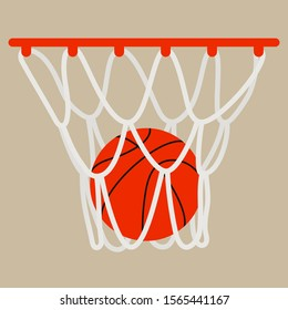 Basketball ball in a basketball hoop on a beige background