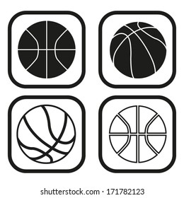 Basketball ball icon - four variations