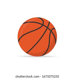 basketball ball isolated on white background. stock vector illustration in flat cartoon style.10 eps.