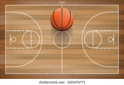 Basketball ball on basketball field background. Wooden basketball field with line court area. Vector illustration.
