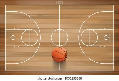 Basketball ball on basketball field background. Vector illustration.